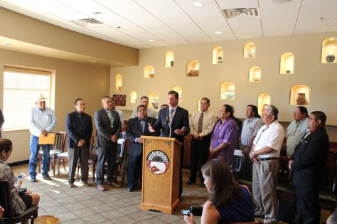 Sen. Martin Heinrich (D-NM) and NM tribal leaders at a July 2016 press conference held to publicize the Safeguard Tribal Objects of Patrimony (STOP) Act, which has been submitted to the US Congress. Source: http://www.heinrich.senate.gov.